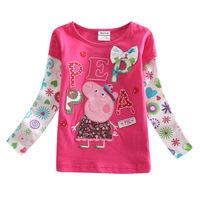 Original Dan Peipei pig children 2014 new children's clothing children's long sleeve t shirt girls t shirt