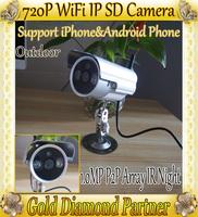P2P 1.0MP 720p Wireless Wifi IP CCTV Camera outdoor Dome Camera withTF Card Slot IR Night Vison QR Code  Free shipping