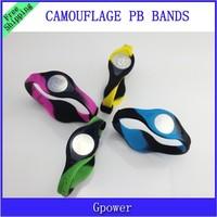 New style! Camouflage PB Mix 4 Colors 3 Sizes Sports Bracelet Power Bands Balance Energy Silicone Wristband With hologram