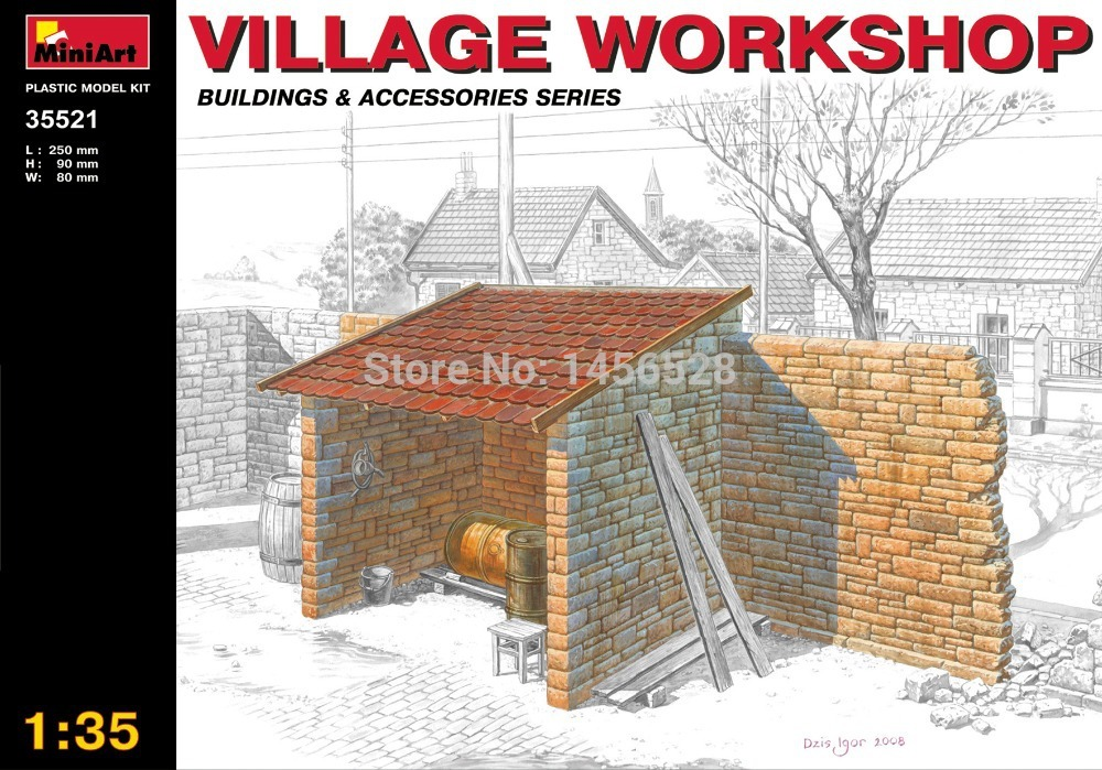 MiniArt model plastic scale models 1/35 buildings and accessories 35521 VILLAGE WORKSHOP scale assembly model building kit(China (Mainland))