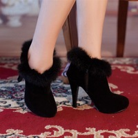 Black Winter 2014 New Nubuck Leather Plush Lining Women Ankle Boots Zipper Rabbit Hair Thin Hight Heels Platform Shoes