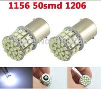 Free Shipping!!! 1156 BA15S 50 SMD 1206 Wedge Light Car Turn signal Brake light Led lamp 12V white 4pcs/lot
