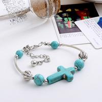 Min.order 9usd (can mix) Fashion women sky blue beads bracelet antique silver jewelry cross pendants bracelet