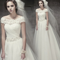 vestido de noiva Hot New Elegant Bridal Gowns Strapless A-line Train Applique Lace Wedding dresses 2015