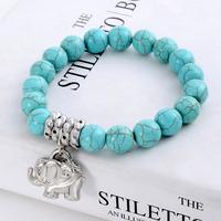Min.order 9usd (can mix) Bohemian style sky blue beads antique silver jewelry elephant charm bracelet