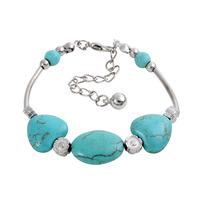Min.order 9usd (can mix) Fashion women sky blue heart beads bracelet antique silver jewelry bracelet