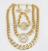 brand new design Metal Regula necklace Chain Bracelet earrings Bangles Luxury Kors For Women Jewelry Sets