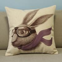 "Beige Cartoon Lovely Animals Rabbit Cotton Blend Linen Pillow Case Decor Cushion Cover Square 18"""