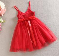 girls dress Pure color paillette dress with shoulder-straps special party princess dress
