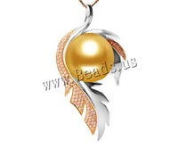 Free shipping!!!Golden South Sea Pearl Pendant,promotion, with 18K Gold, plated, with cubic zirconia & two tone, 16-17mm