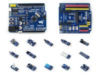 ATMEGA328P MCU Development Board Compatible with UNO R3 + IO Expansion Shield + Sensors Pack = UNO PLUS Package A