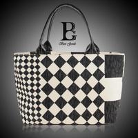 In vogue Linen Plaid Handbags of women Casual Square grid tote Bolsas Femininas Shopstyle Large new design stylish