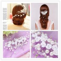 2014 Bridal Accesspries Pearls Flowers Short Bride hair accessory Wedding Veil Bridal Veil Wedding Brides hair decoration