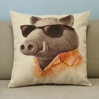 "Beige Cartoon Lovely Animals Pig Cotton Blend Linen Pillow Case Decor Cushion Cover Square 18"""