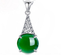 Natural Green Chalcedony Jade Pendant  925 Sterling Silver Necklace 100% Guaranteed