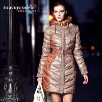 2014 women's fashion medium-long down coat color block decoration slim plus velvet outerwear female