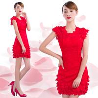 2015 Women's O Neck short design slim hip fashion white / red petals evening dress formal party dresses