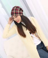 2015 Free Shipping Autumn Winter Women Beanies Plaid Hat  3 WayTo Tear Bonnet Unisex Hip Hop Caps Women Beanie Gorros Hat Caps