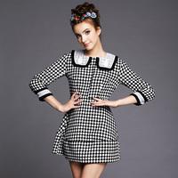 S-5XL Brand new Elegant Black White Plaid 3/4 Sleeve Woolen Casual Dresses 2014 Autumn Winter Fashion Plus Size Women Clothing