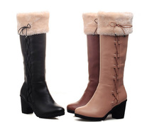 Free shipping 2014 the winter new rough with the sleeve bow snow women boots.