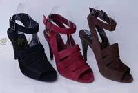 WS4 New 2014 Arezzo ethelburga 's high-heeled sheepskin female sandals shoes leather sole shoe femenino red sandal