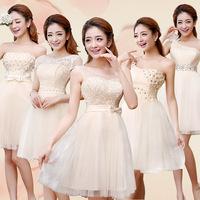 Korean Styles Women's Slim Waist knee-length Champagne chiffon Bridesmaid Dress Party dresses 5 styles