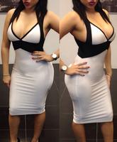 Popular Autumn Party Dress For Women Black White V-neck Halter Midi Dress New 2014 Free Shipping B4907 Eshow