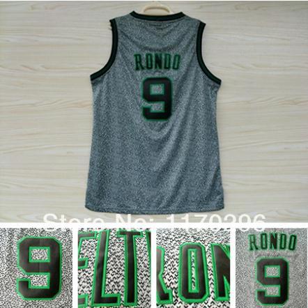 Boston 9 Rajon Rondo Basketball Jersey, Cheap Static Fashion Jersey Embroidery Logos Rajon Rondo Jersey - Gray(China (Mainland))