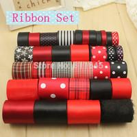 Free shipping Mixed 33 style satin Christmas ribbon series hand made ribbon set DIY ribbon embroidery black and red
