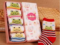 Winter Cute Flog Newborn Baby Cotton Socks Horizontal Stripes Long Thick Non-Slip Home Floor Socks Christmas Socks 5PCS/BOX