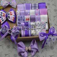 Hot!! 23 yards purple handmade Ribbon Set,Wholesale Printed Grosgrain Wedding Decoration Ribbon,Hair Bows Accessory Materials