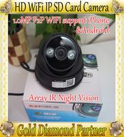 P2P 1.0MP 720PHD Wireless Wifi IP CCTV Camera Dome Camera withTF Card Slot IR Night Vison QR Code  Free shipping