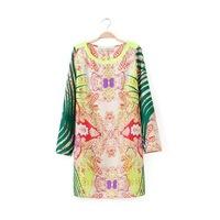 Stylish New Hawaii Style Print Girl Sweet Dress Long Sleeve O Neck Women Boutique Spring Dress YS93339