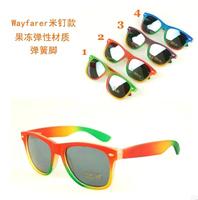 1pc free shipping creative 2015 new fashion creative Wayfarer color elastic transparent  UV400 sunglasses women use