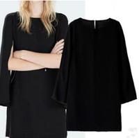 European New Brief All Match Women Cloak Sleeve Dress O Neck Black Office Lady Loose Dress YS93307