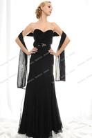Strapless A-line Empire Waist Black Beaded Chiffon Sheath Evening Dresses with Shawl
