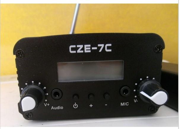 2015 Free shipping NEW 7Watt Stereo LCD Broadcast Radio Station FM transmitter with antenna(China (Mainland))