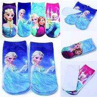 Newest Fashion Children unisex Frozen Elsa & Anna Socks Cartoon Kid Sport Hosiery Baby Girl Boy Sock