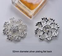 (M0750) 52mm dimeter rhinestone embellishment ,silver plating,flat back