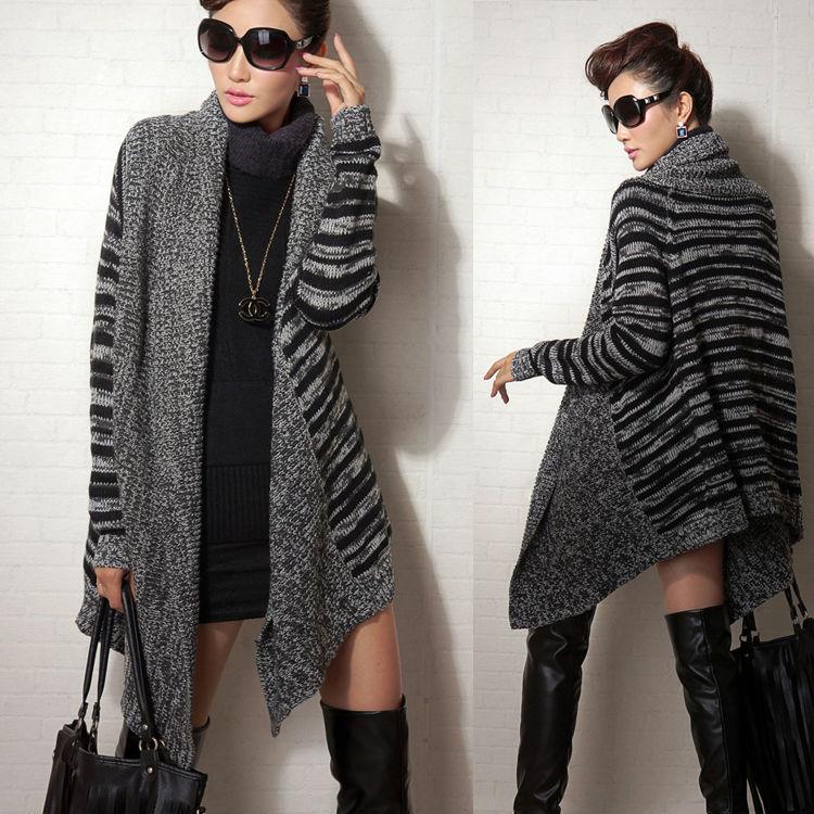 New Korean Women Winter Long Cardigans Sweater Fashion Hot Brand Women's Striped Open Stitch Large lapel Casual Knitwear nz200(China (Mainland))