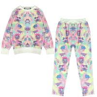 2014 Harajuku Style Women Super Cute Cartoon Unicorn Little Horse Tie Dye Pajamas Sets Casual Sweatshirts Suit Nightgown Y-1334