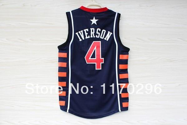 Allen Iverson #4 USA Basketball Dream Team Jersey, Cheap Allen Iverson Quality Embroidery Basketball Jersey USA - Navy Blue(China (Mainland))