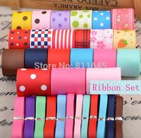 40meters/Lot High Quality Ribbons Children hair accessory DIY bowknot hairpin material grosgrain / satin frozen ribbon set