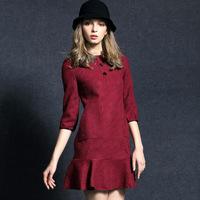 women work wear new  autumn and winter dresses women OL fashion red green woolen pullovers one-piece casual dress