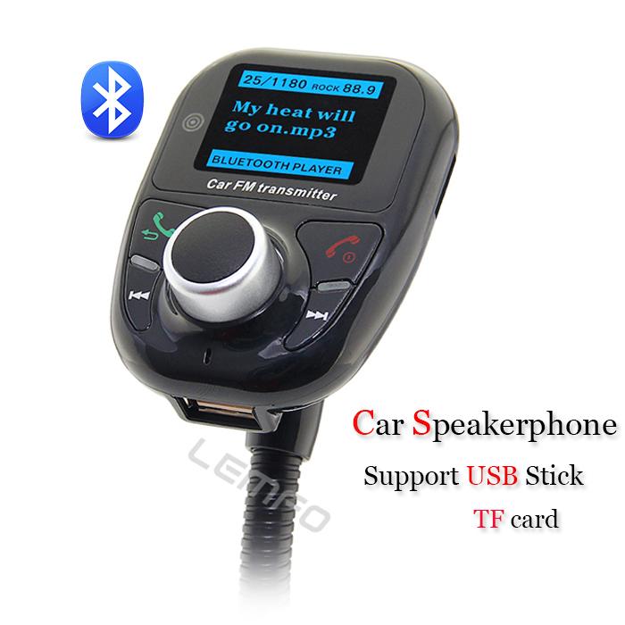 Bluetooth Car Kit Speakerphone Stereo Handsfree Speaker Phone FM Transmitter Play Music From USB Disk TF Card Reader Universal(China (Mainland))