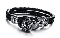 On Sale Christmas Gifts Motorcycle Skull Bangle Big Black CZ Crystal Stainless Steel Leather Bracelet 3pcs/lot,BC1666
