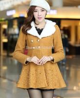 2014 Trends Winter Inverno Women's Coats Casacos Femininos Woolen Beading Ruffles Big Fur Collar Overcoat WWN243