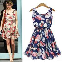 Women Casual Vestido Brand New Desigual Apricot Sleeveless Round Neck Floral Print Pleated Dress 2014 Saias Vestidos Femininas