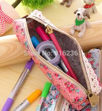 Rectangular bag, wind elegant beauty, simplicity canvas, Polka Dot Floral pencil bag, pencil case - 4 models can pick(China (Mainland))
