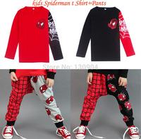 Children Sets Boys Spiderman Clothing Sets Kids Cartoon Brand T shirt+Pants 2pcs Sets 100% Cotton Kids Suits For Spring Autumn